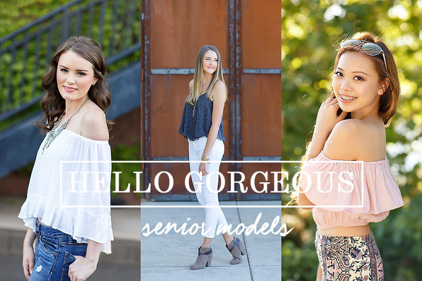 Senior models by El Dorado Hills senior photographer Colleen Sanders, three different backgrounds including natural greenery, barn door, ivy wall.
