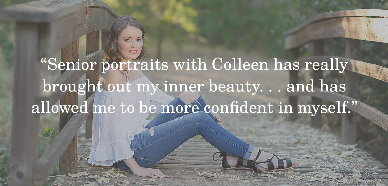 Senior pictures with Colleen Sanders Photography in El Dorado Hills on a bridge, helped me with my confidence.