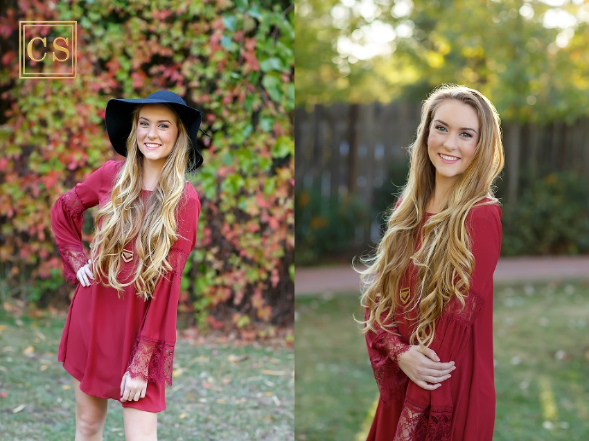 Colleen Sanders Photography senior pictures girl red dress, gold jewelry, hat, fall portraits long hair.