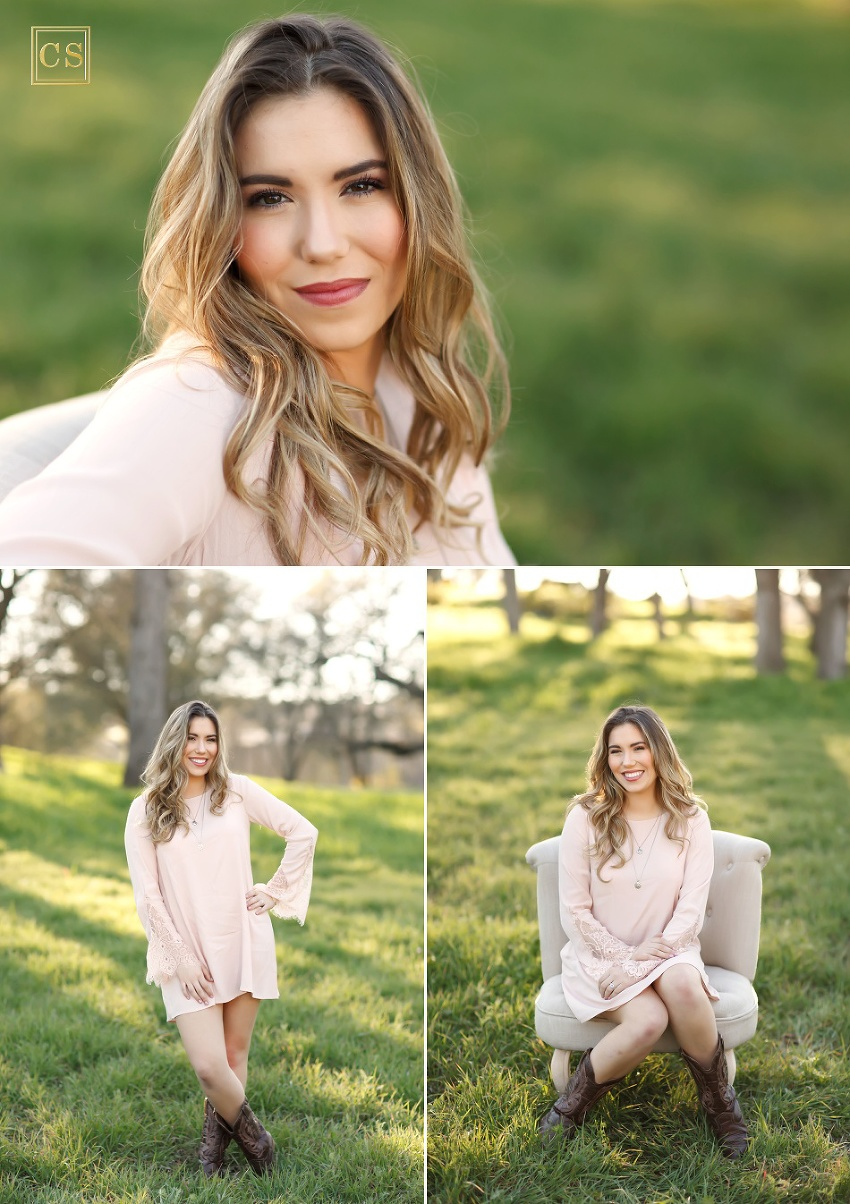 Cameron park senior photographer in park El Dorado Hills pink lace dress and cowboy boots by Colleen Sanders.