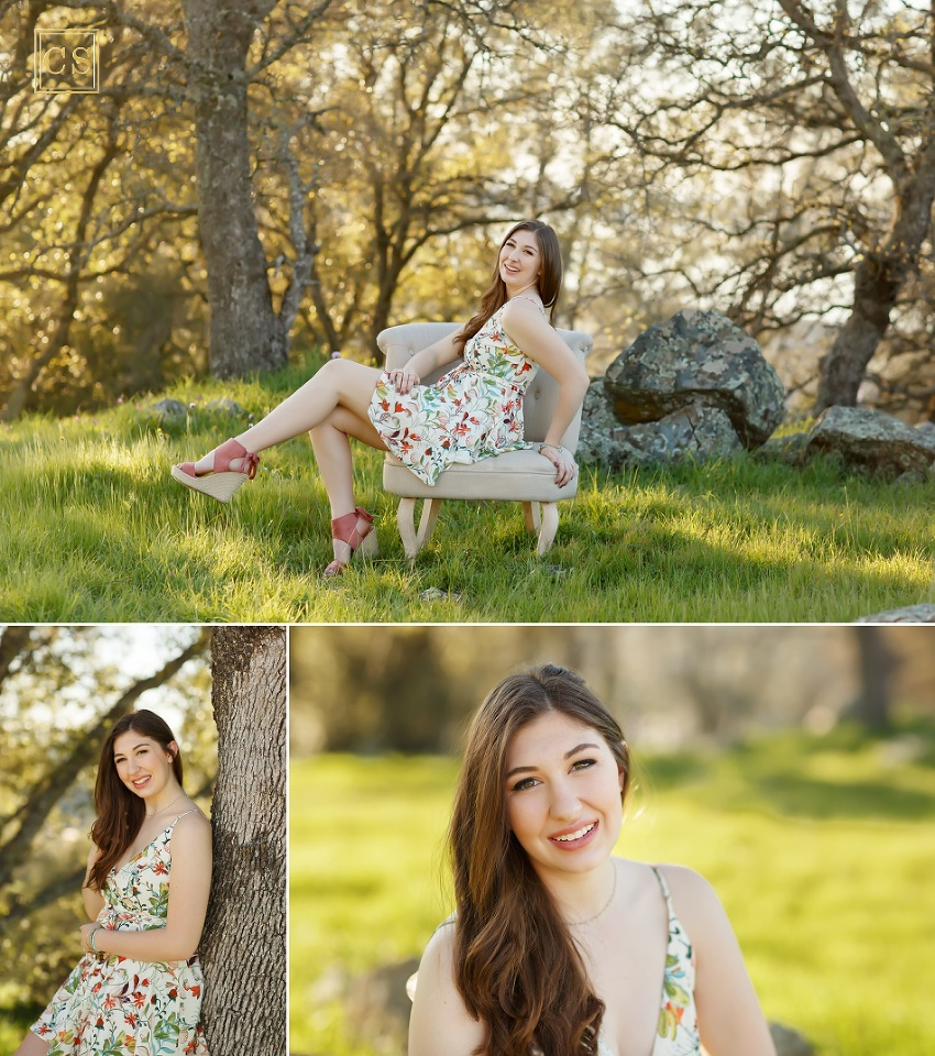 spring senior pictures for senior models in El Dorado Hills, northern california by Colleen Sanders Photography floral dress, chair, greenery, girl.
