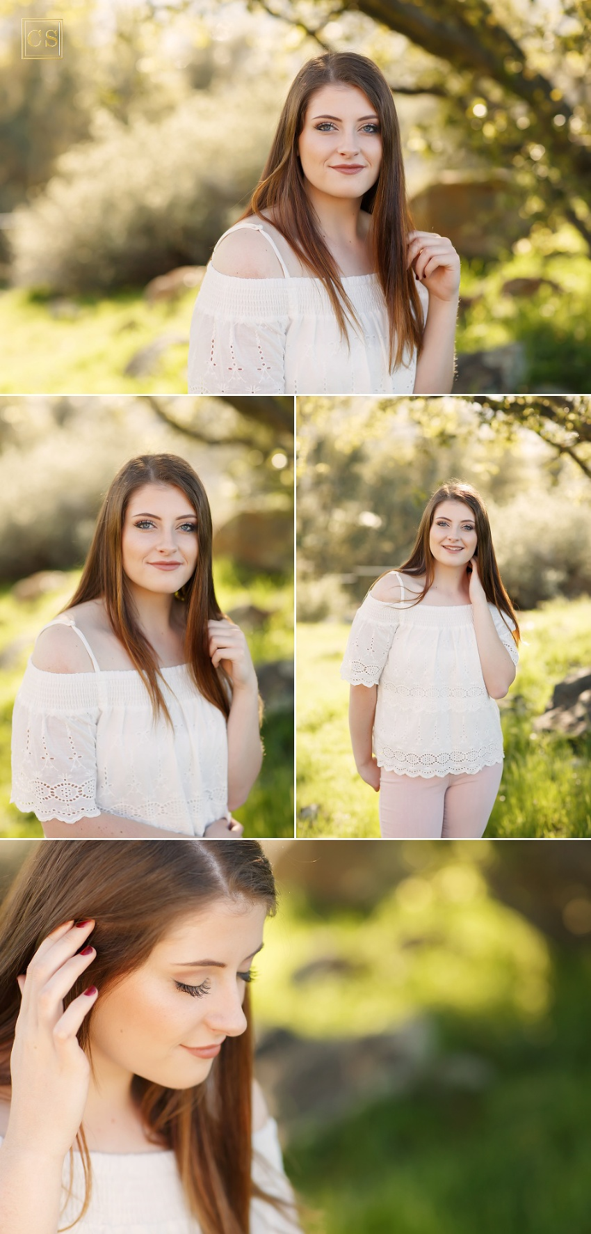 El Dorado senior pictures with senior photographer Colleen Sanders with green background, flowers, chair, pastels, softball player.