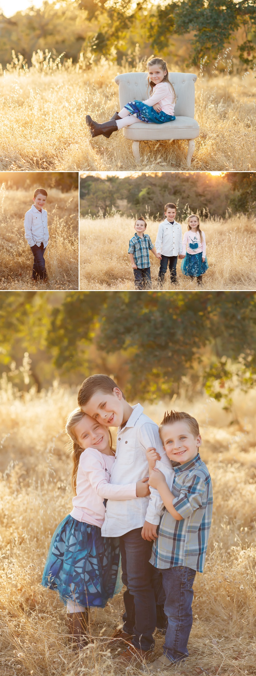 Fall family pictures in Folsom with El Dorado Hills photographer Colleen Sanders grasses oak trees golden light kids family fall mini sessions.