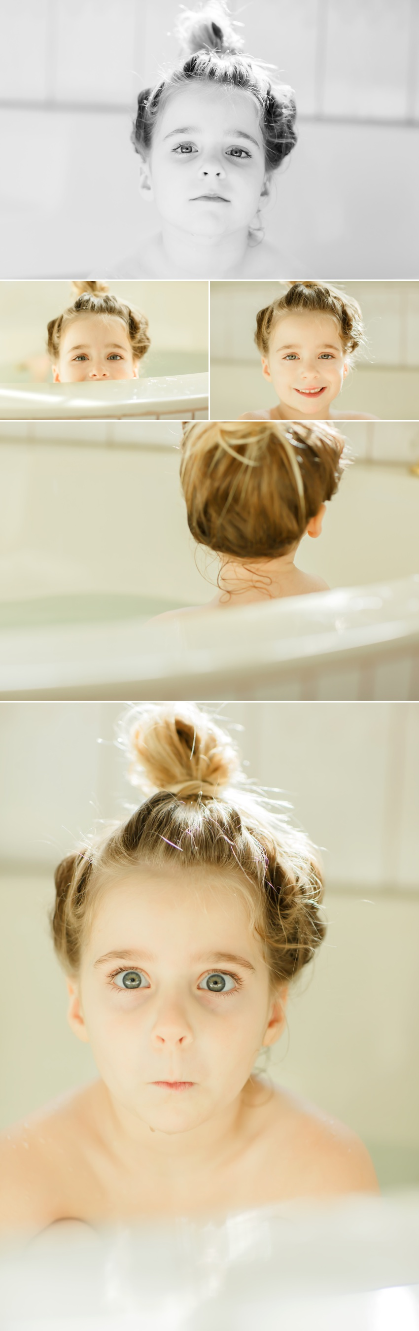 Lifestyle family pictures in El Dorado Hills for my little 4 year old during bath time by Colleen Sanders Photography.